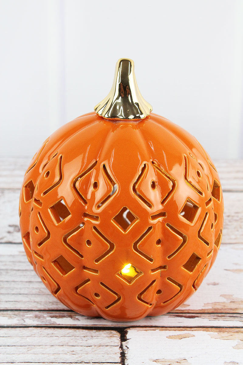 6.75 x 5.75 Orange Ceramic Diamond Cut-Out LED Pumpkin