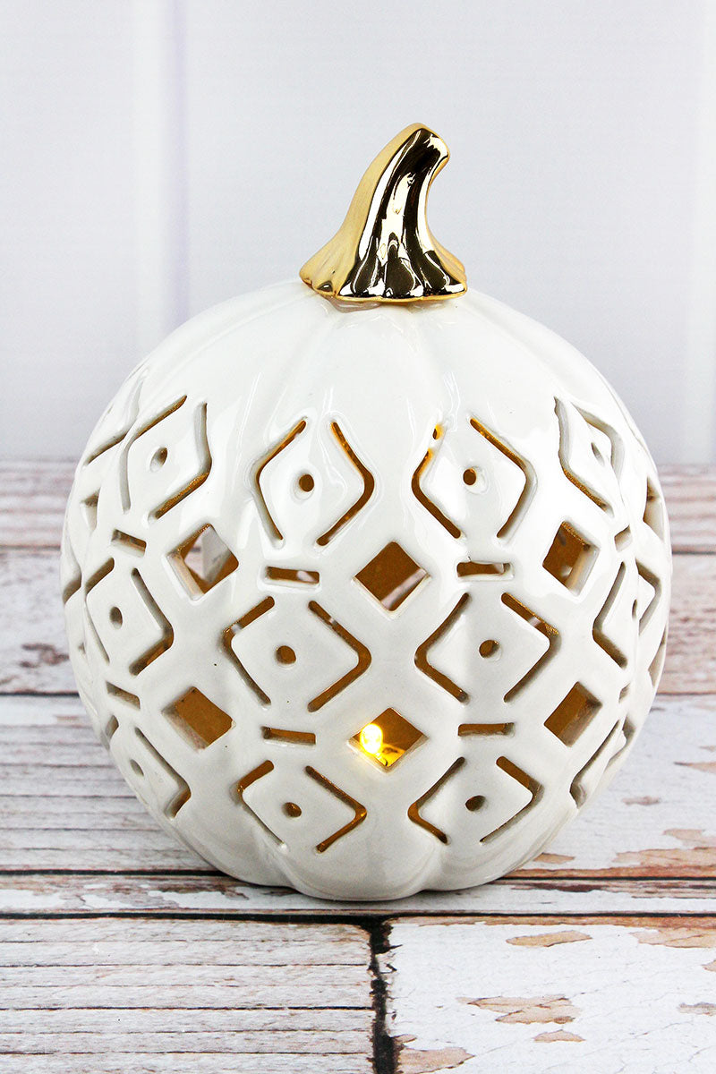 6.75 x 5.75 White Ceramic Diamond Cut-Out LED Pumpkin