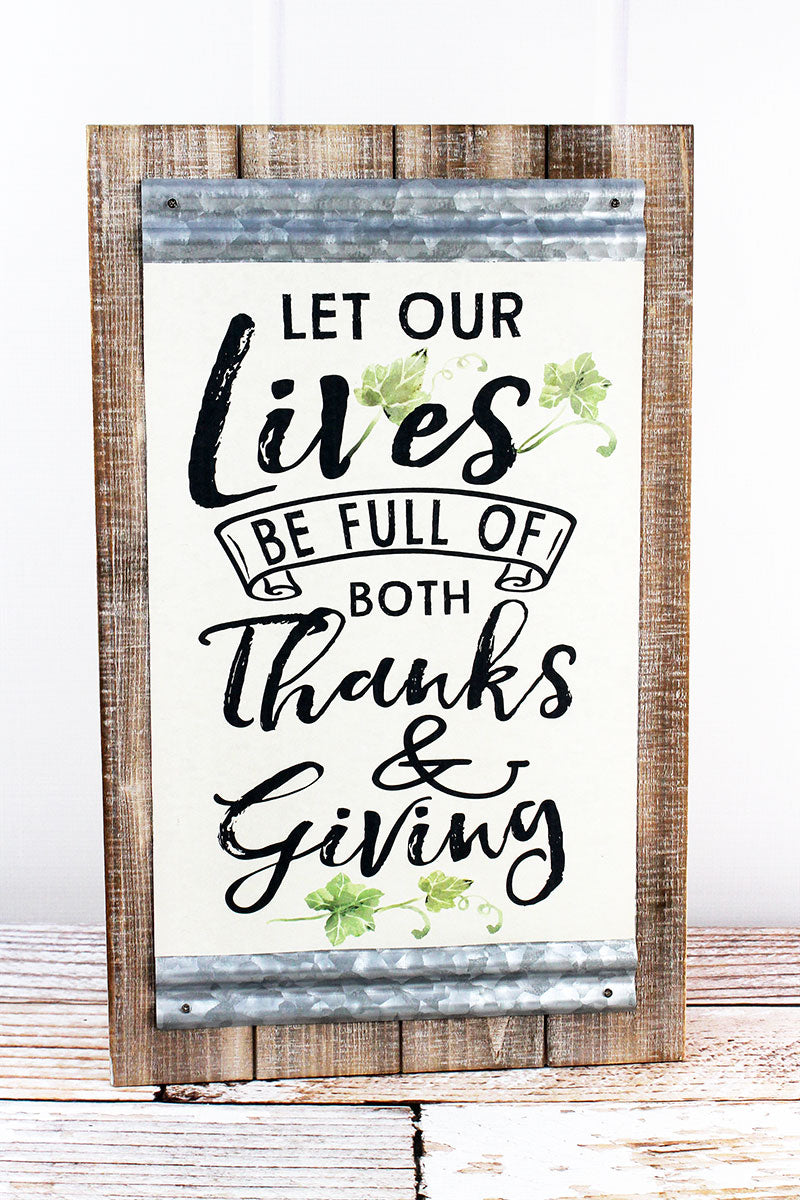 19 x 11.75 'Full Of Both Thanks & Giving' Wood and Metal Wall Sign