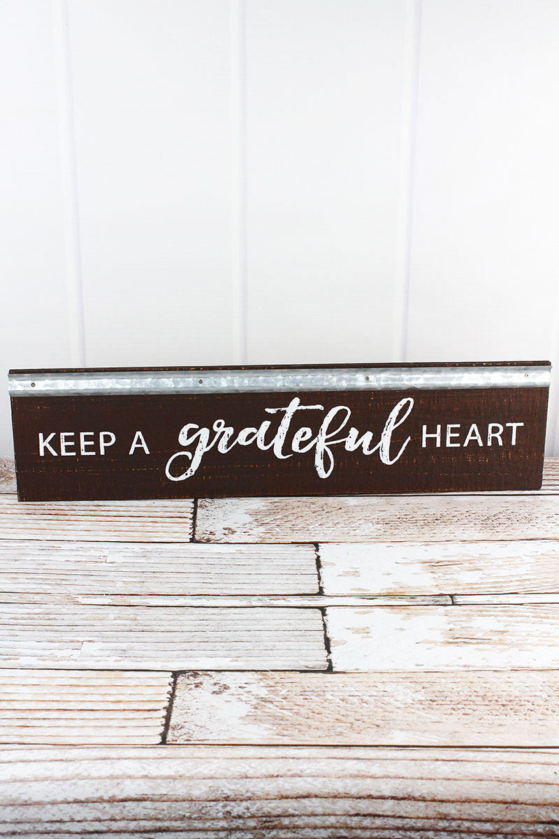 6 x 23.5 'Keep A Grateful Heart' Metal Trimmed Wood Wall Sign