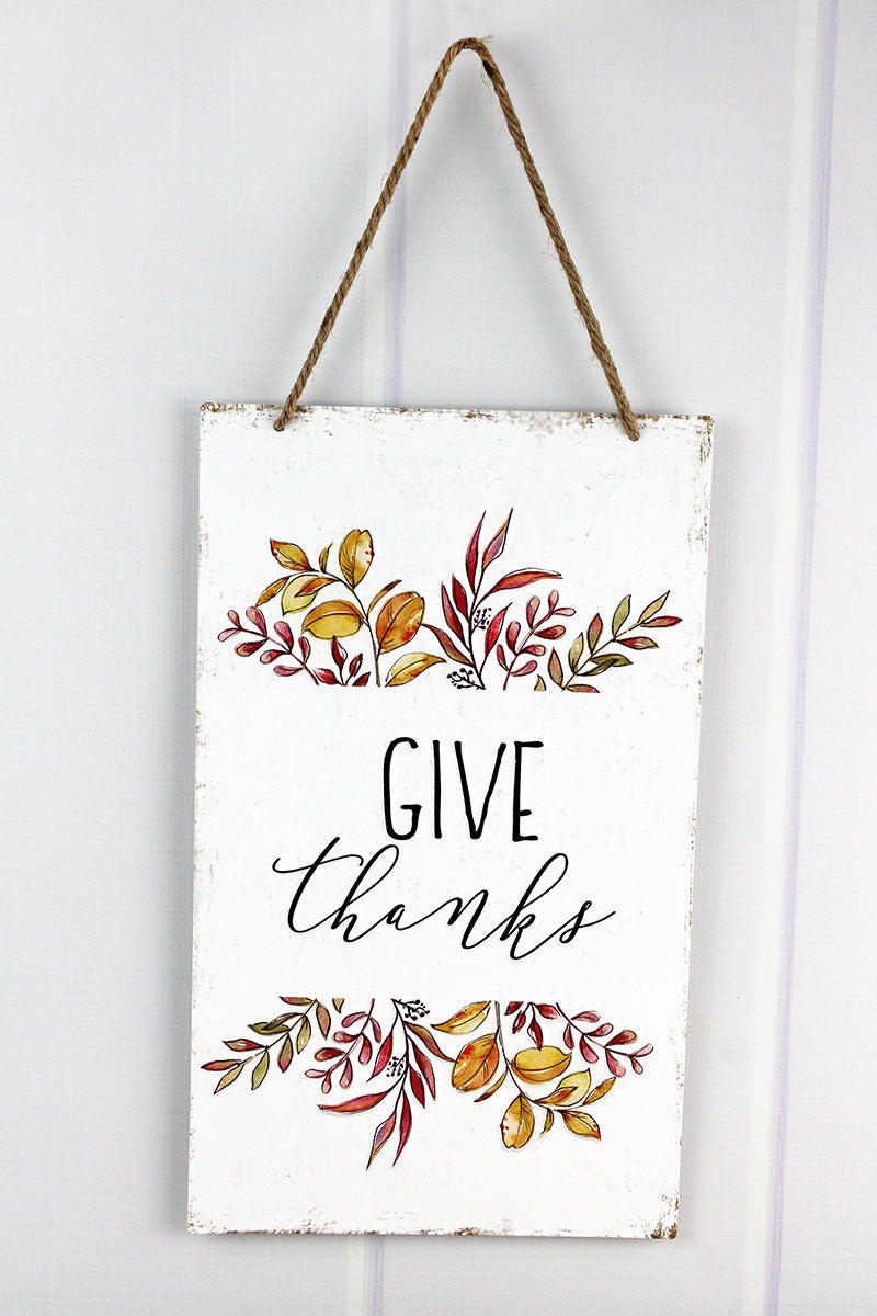 16 x 9.5 'Give Thanks' Metal Autumn Wall Sign