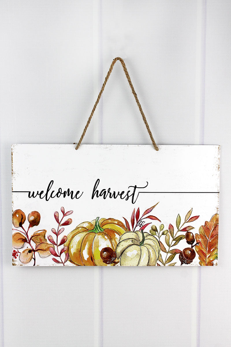 9.5 x 16 'Welcome Harvest' Metal Autumn Wall Sign