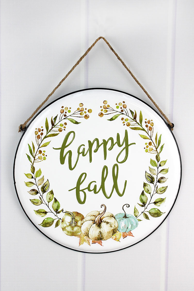 15 x 15 'Happy Fall' Pumpkin Wreath Round Metal Sign