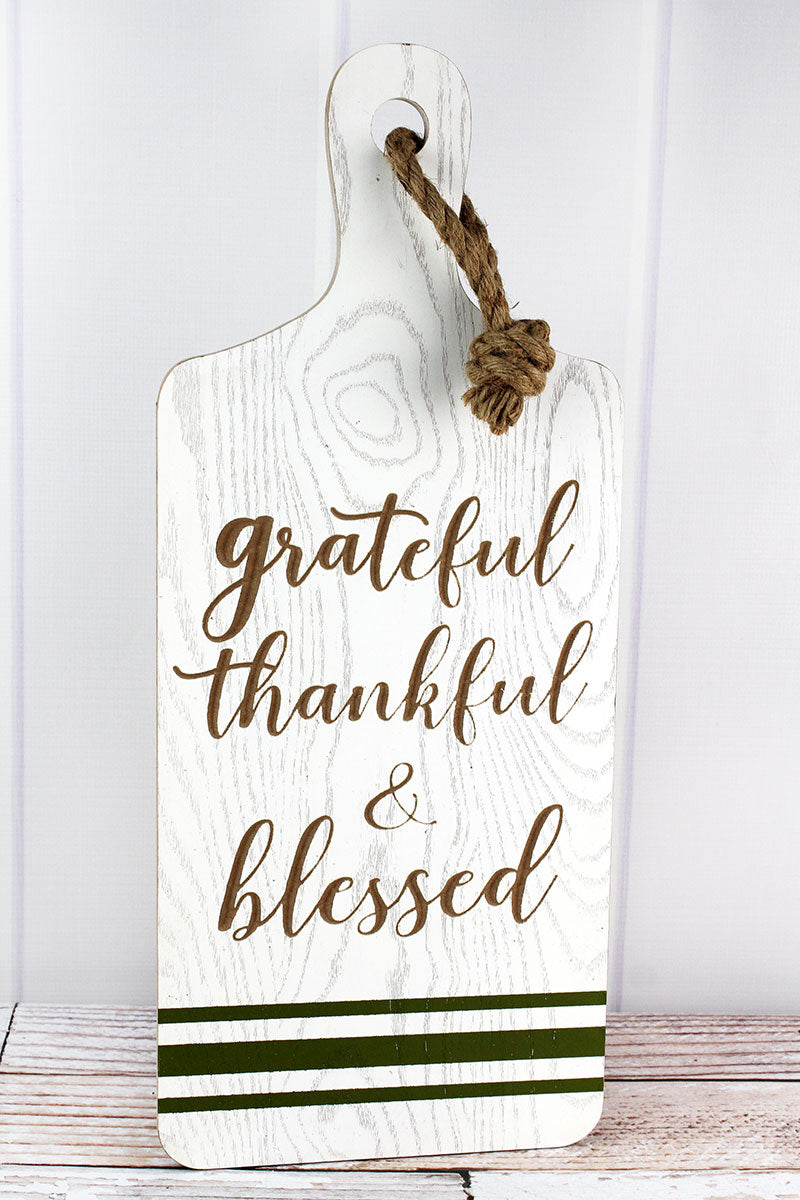 23.5 x 9.75 'Grateful Thankful & Blessed' Wood Cutting Board Sign