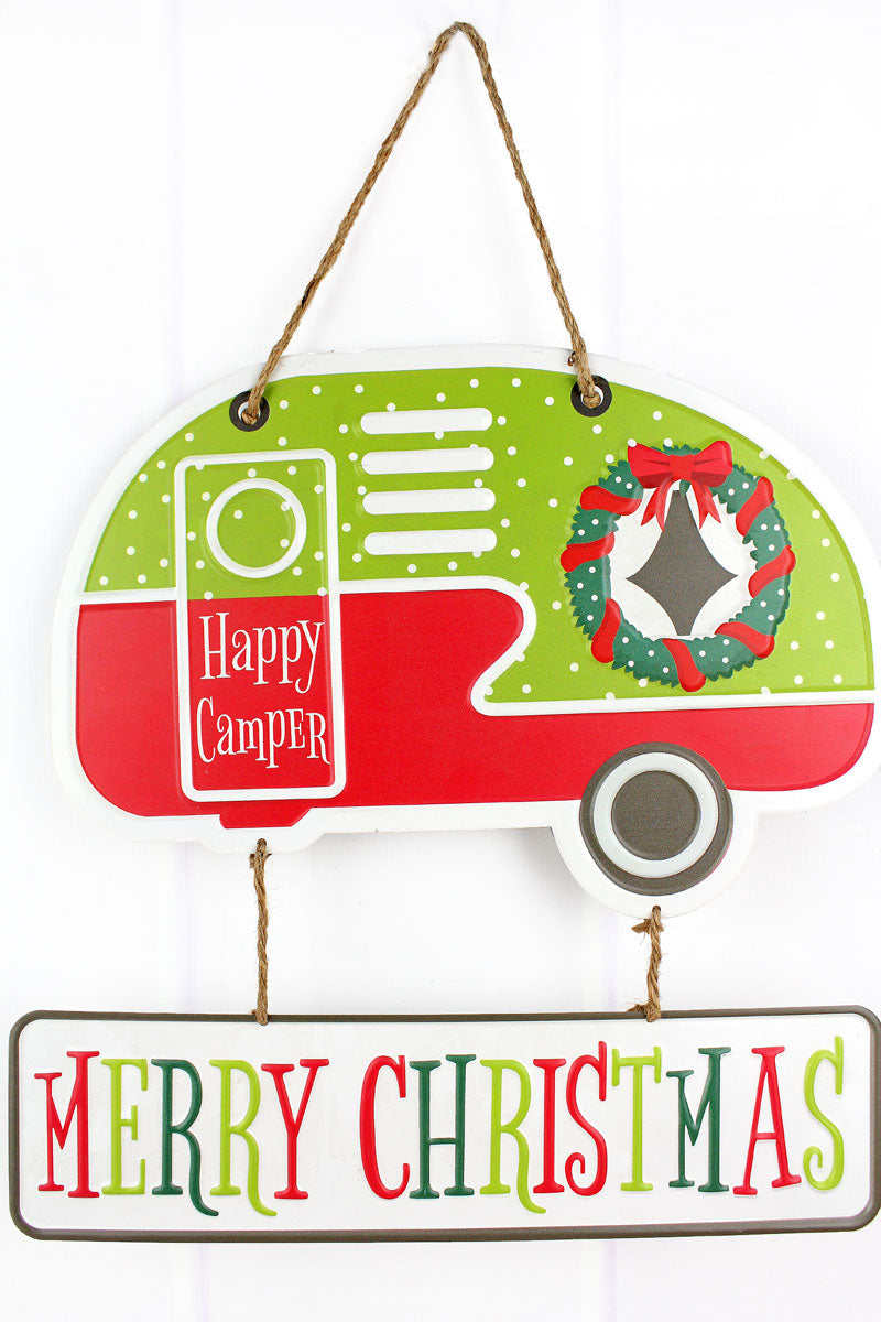 15 x 15 'Merry Christmas' Tin Camper Wall Hanging