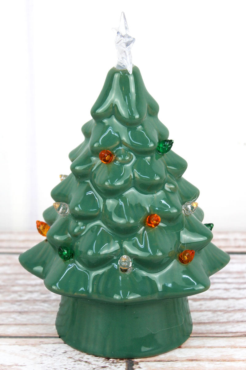 7.25 x 4.25 Green Ceramic LED Tabletop Christmas Tree