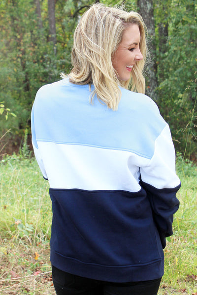 Charles River Light Blue, White, and Navy Westerly Crew Sweatshirt (Wholesale Pricing N/A)