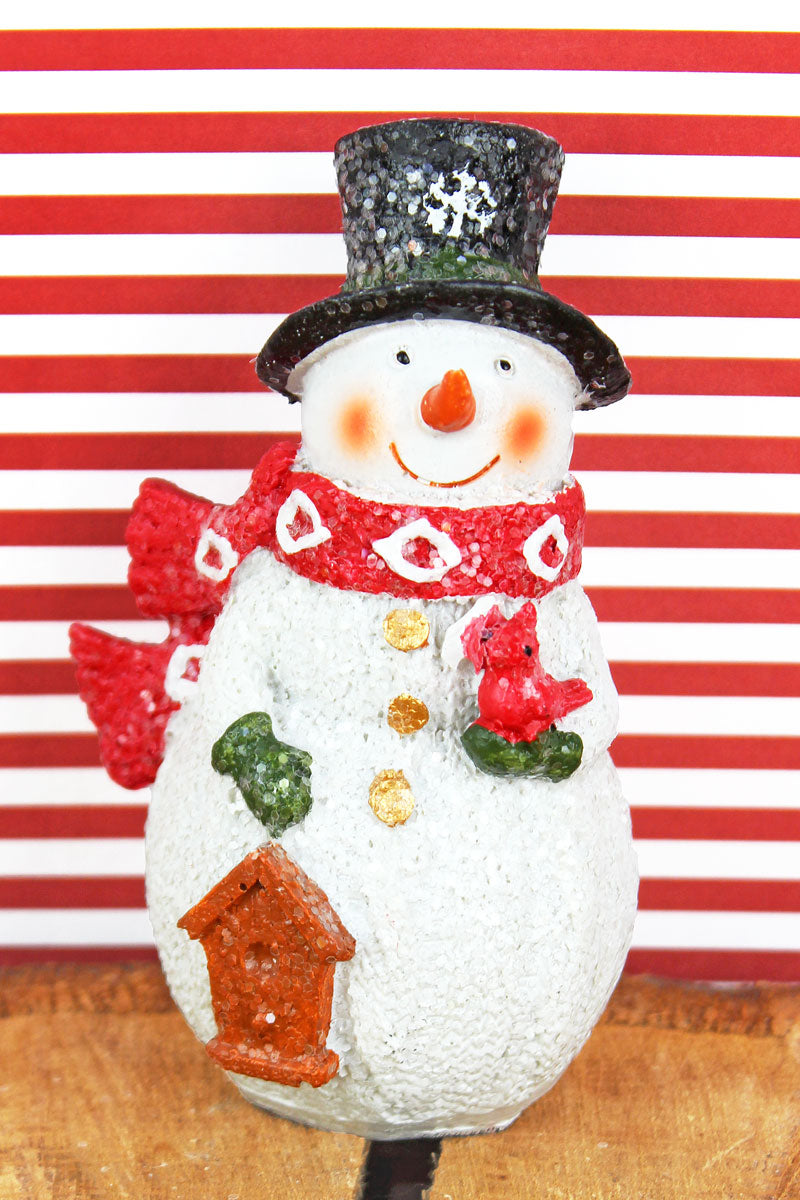 4.5 x 2.5 Glitter Snowman with Birdhouse Resin Figurine