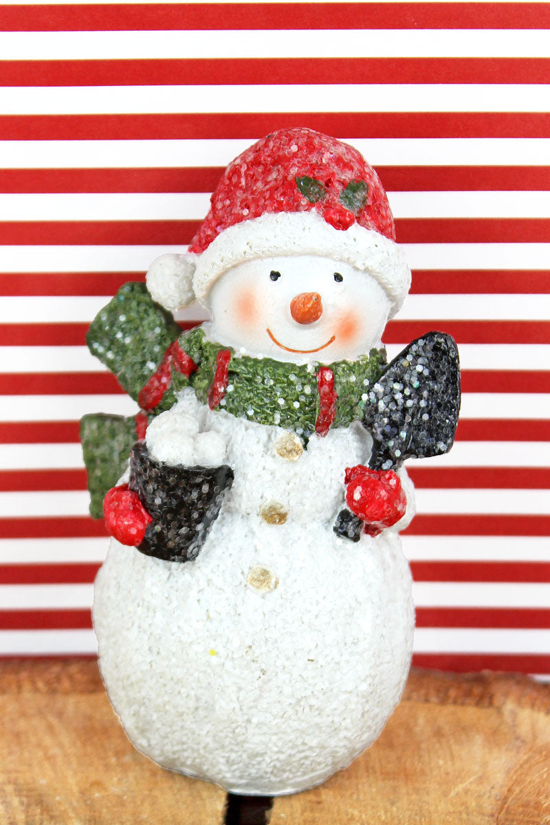 4.5 x 2.75 Glitter Snowman with Snowballs Resin Figurine