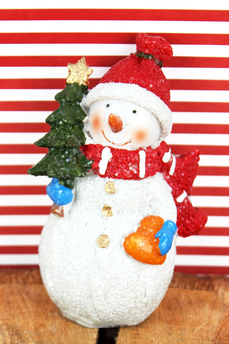 4.5 x 3 Glitter Snowman with Christmas Tree Resin Figurine