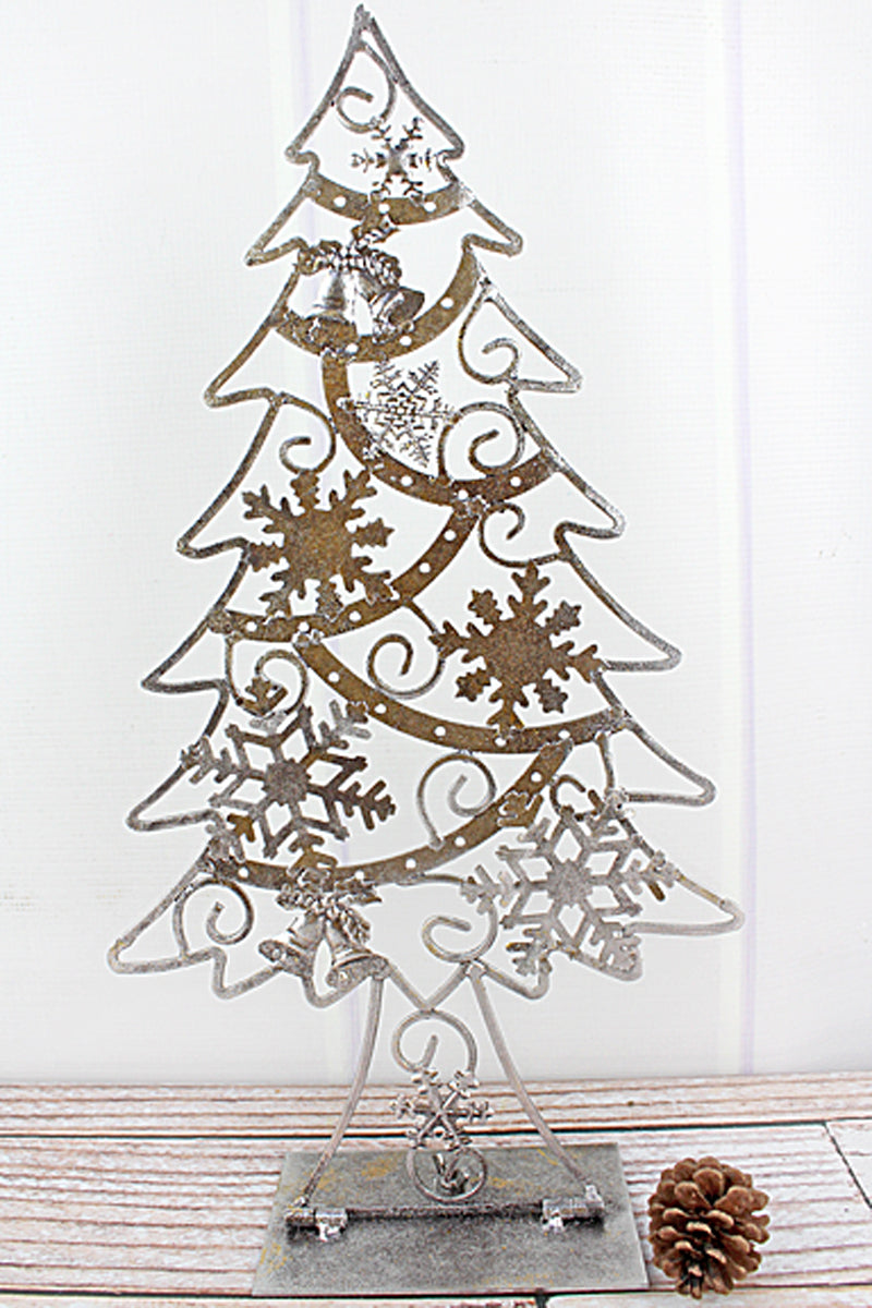 18.5 x 9.75 Silver Metal Snowflake Christmas Tree