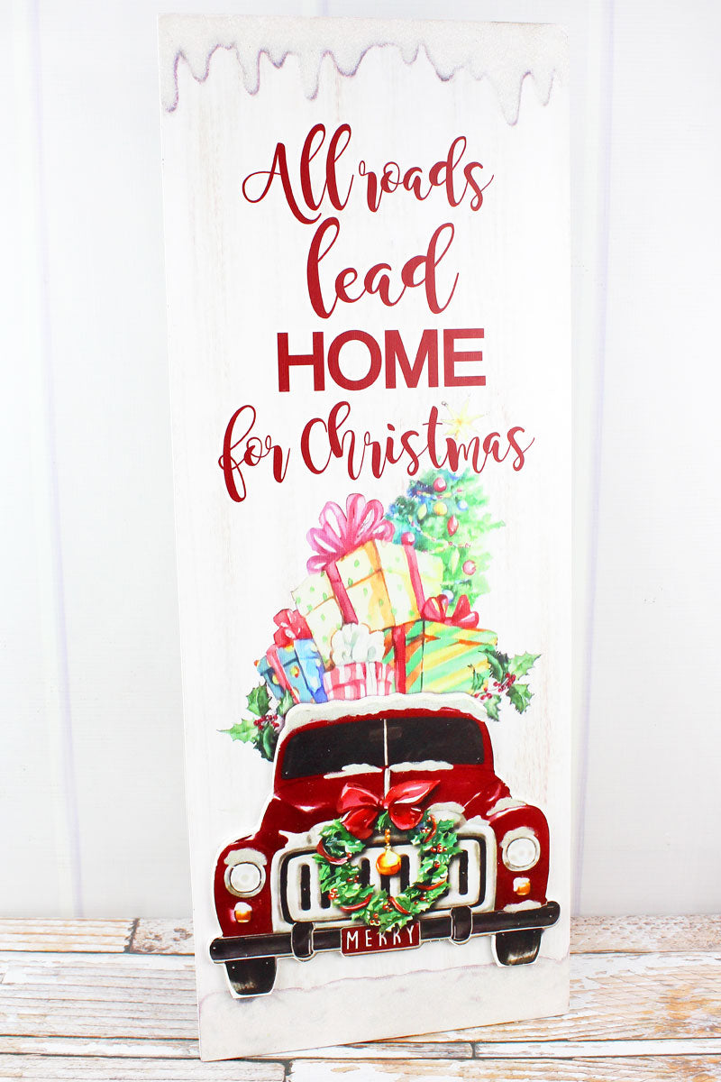 26 x 10 'All Roads Lead Home' Christmas Truck Wood Sign