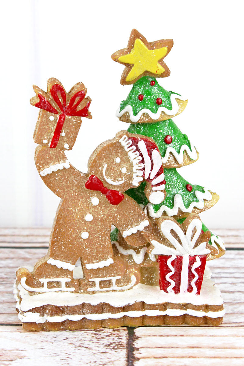 6.25 x 4.5 Glittery Gingerbread Man with Christmas Tree Resin Figurine