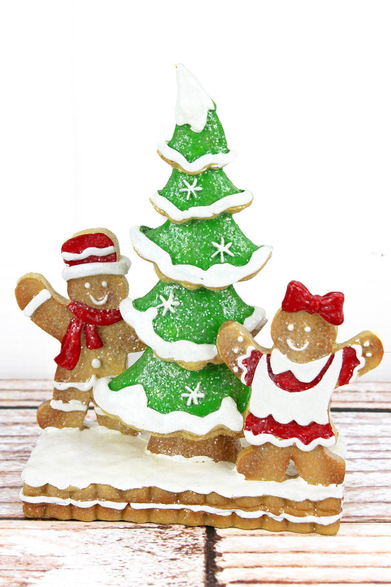 7 x 5.75 Glittery Gingerbread Pair with Christmas Tree Resin Figurine