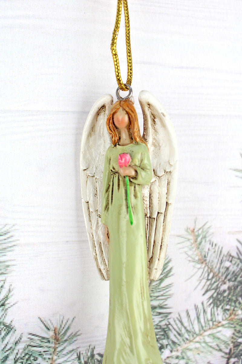 Angel Holding Rose Resin Ornament, 3.5""
