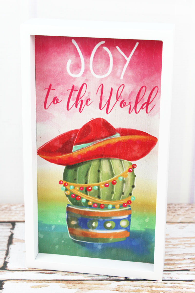 9.75 x 5.5 'Joy To The World' Christmas Cactus Wood Framed Sign