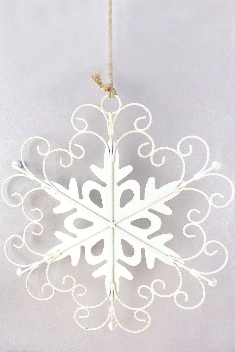 8.75 x 8.25 White Christmas Metal Snowflake