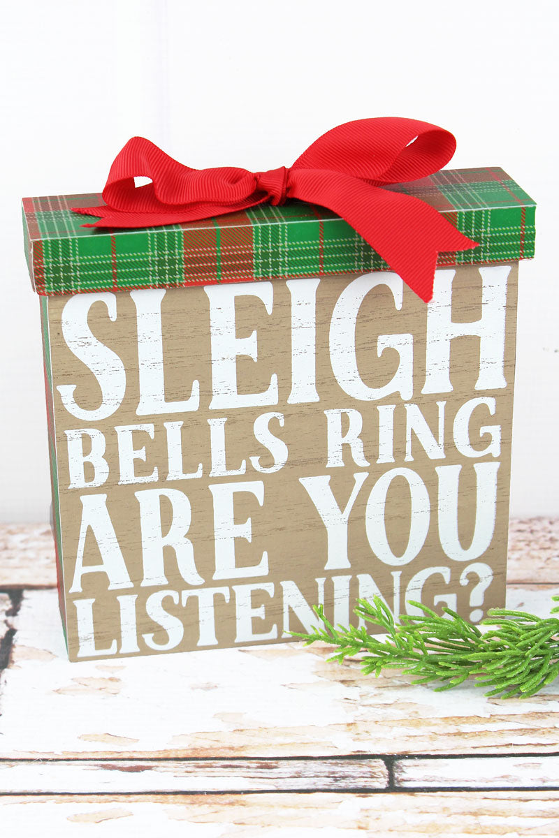 6 x 6.25 'Sleigh Bells Ring' Wood Christmas Gift Sign