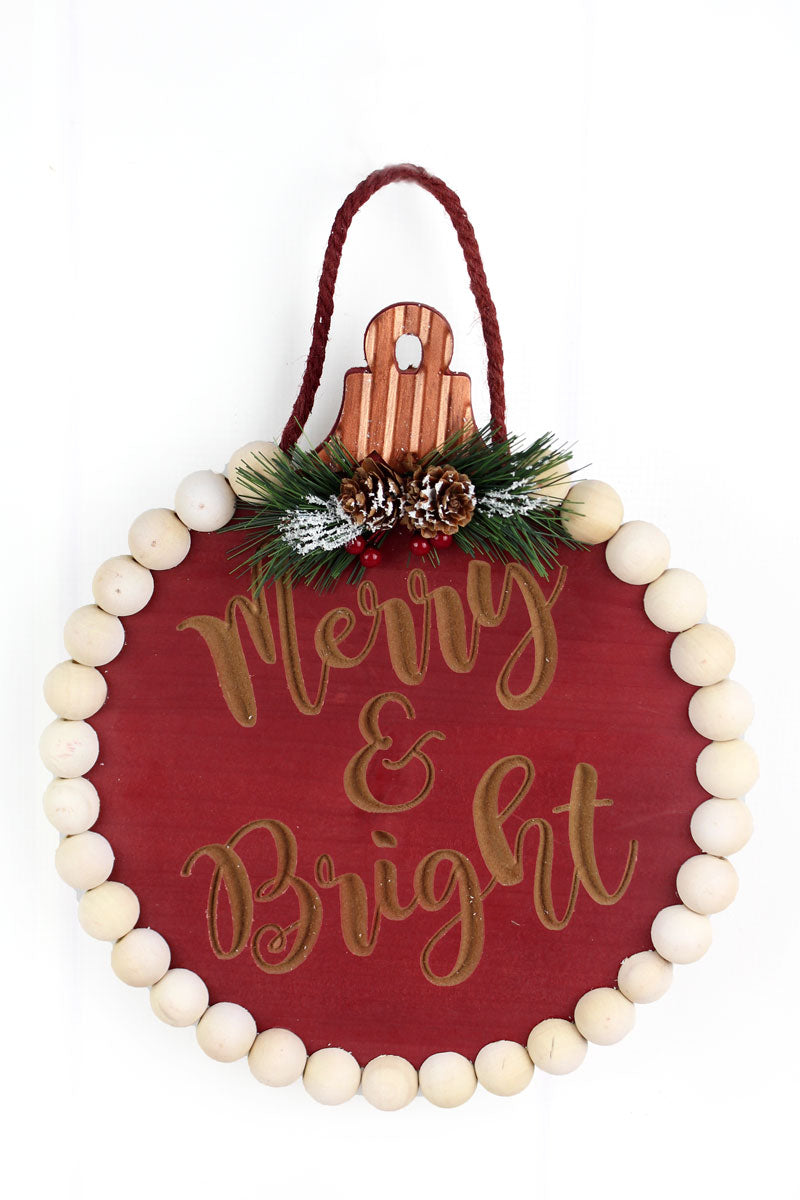 12.5 x 11 'Merry & Bright' Cut-Out Wood Beaded Sign