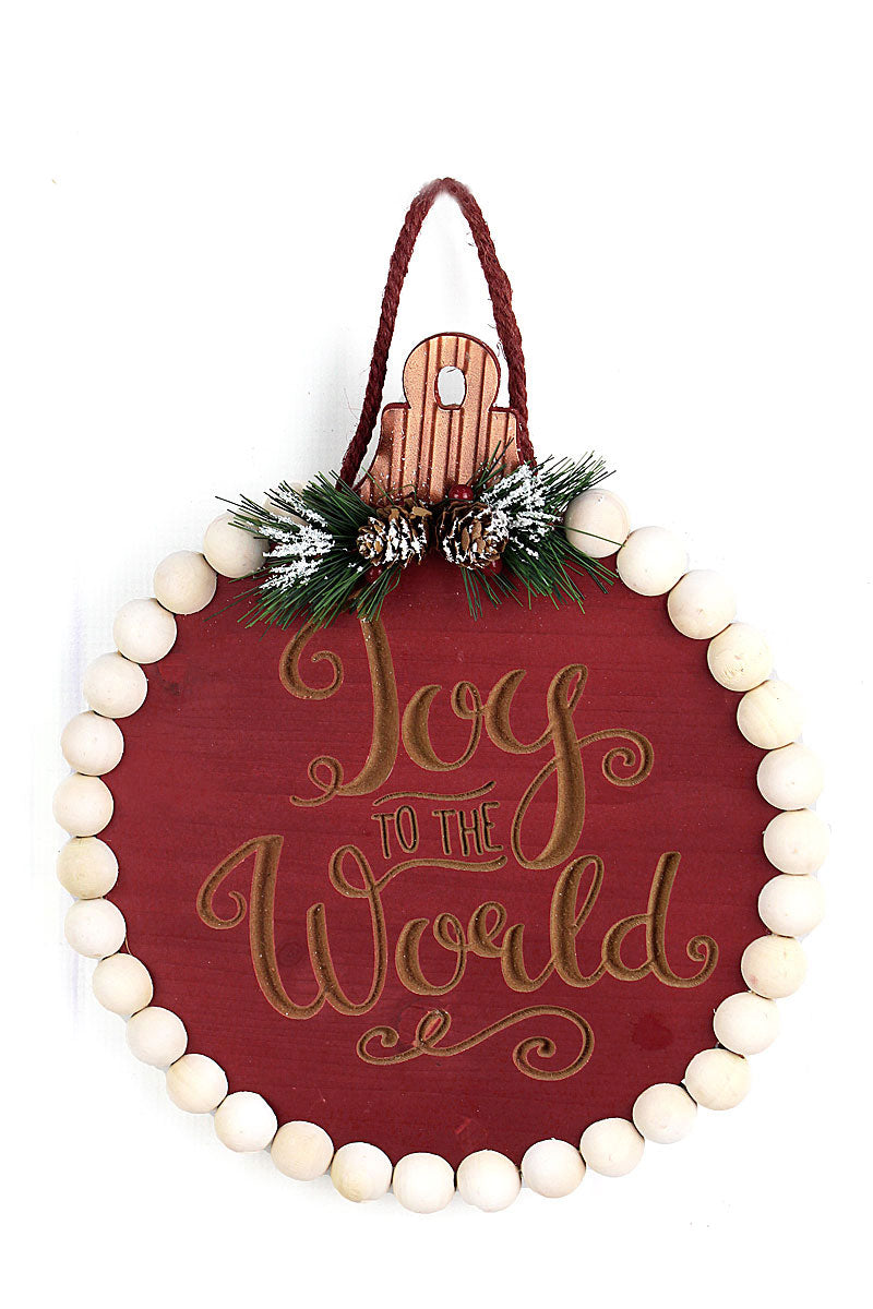 12.5 x 11 'Joy To The World' Cut-Out Wood Beaded Sign