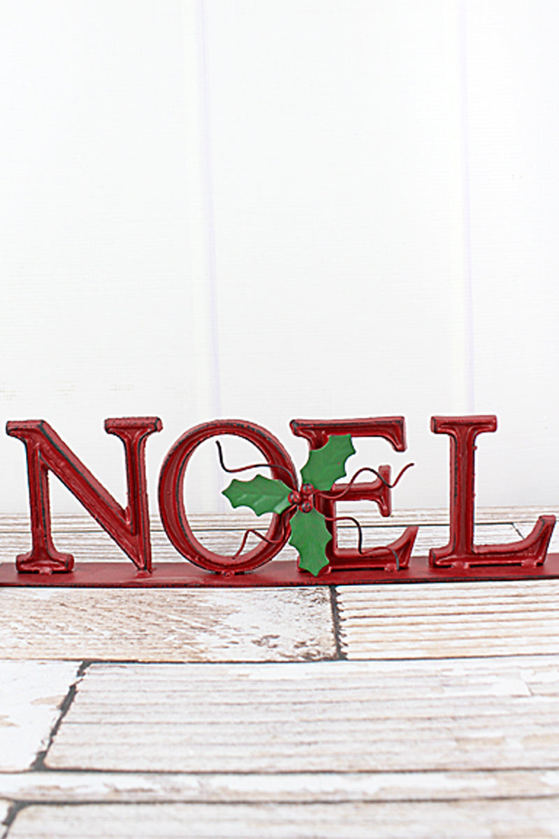 4 x 15 'Noel' Red Cast Iron Tabletop Sign