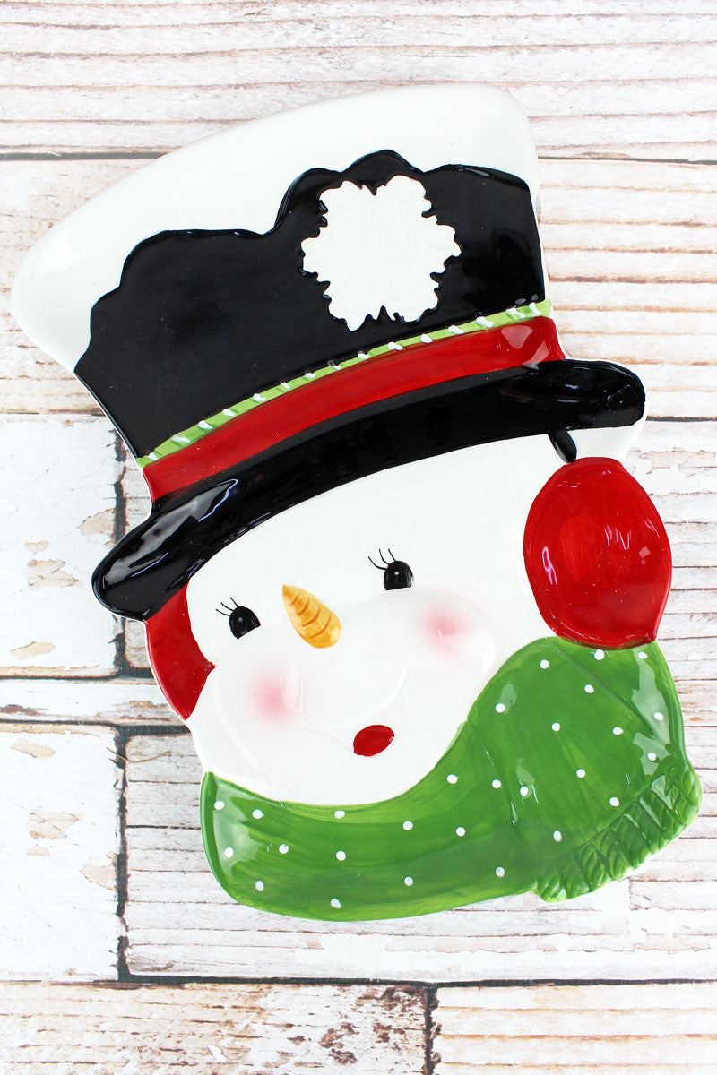 13 x 9 Ceramic Snowman Cookie Platter