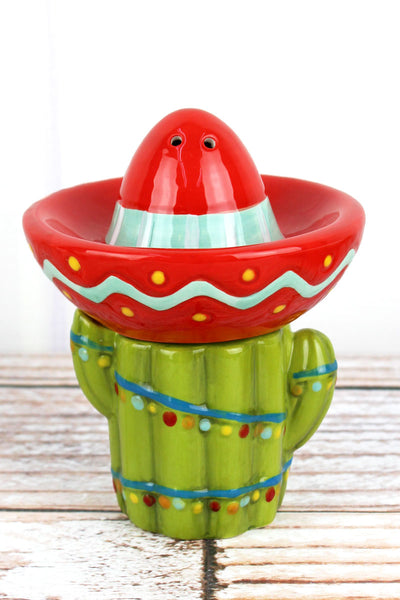 Ceramic Christmas Cactus with Sombrero Stacking Salt & Pepper Shaker Set