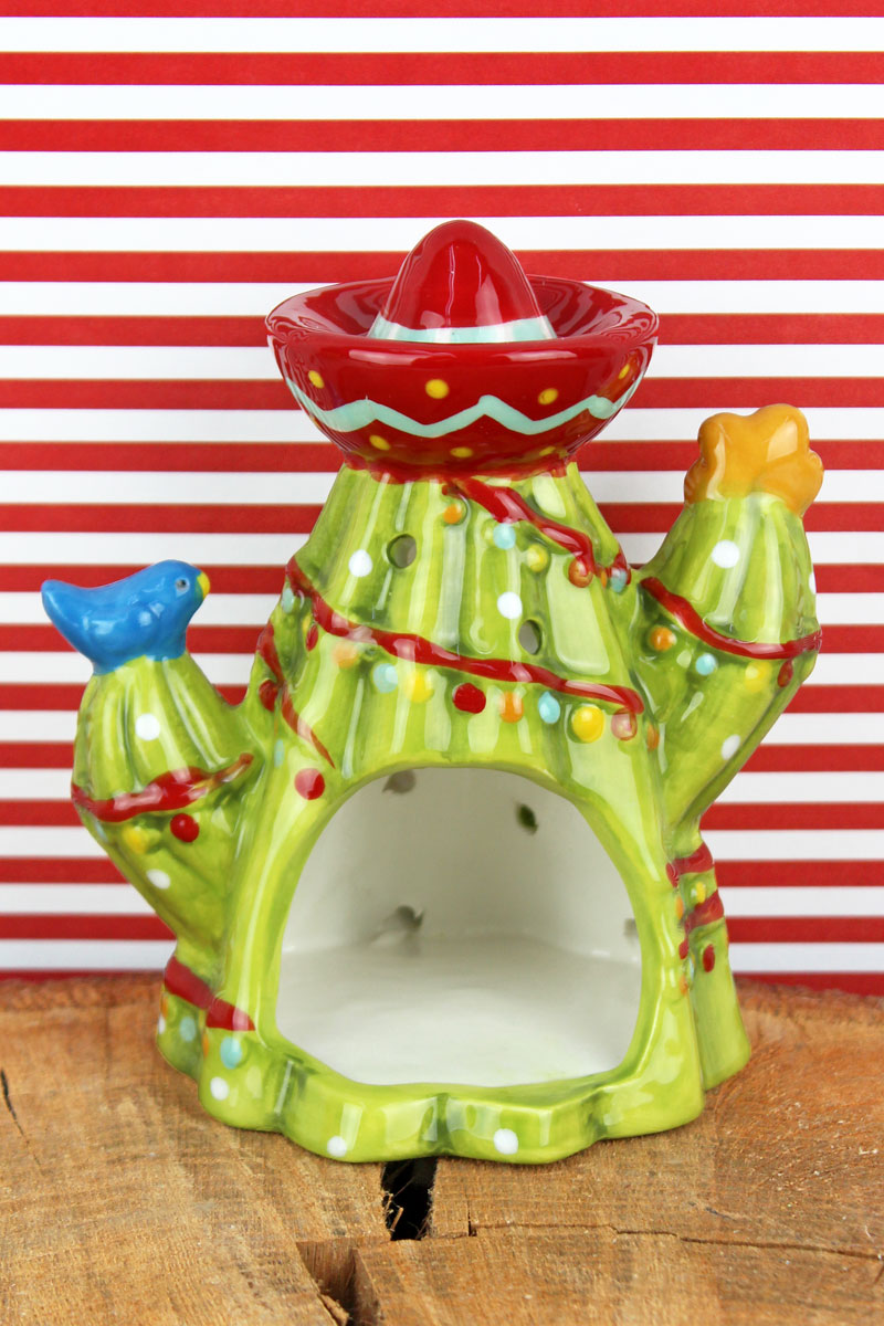 5 x 4.5 Ceramic Christmas Cactus with Sombrero Tea Light Holder