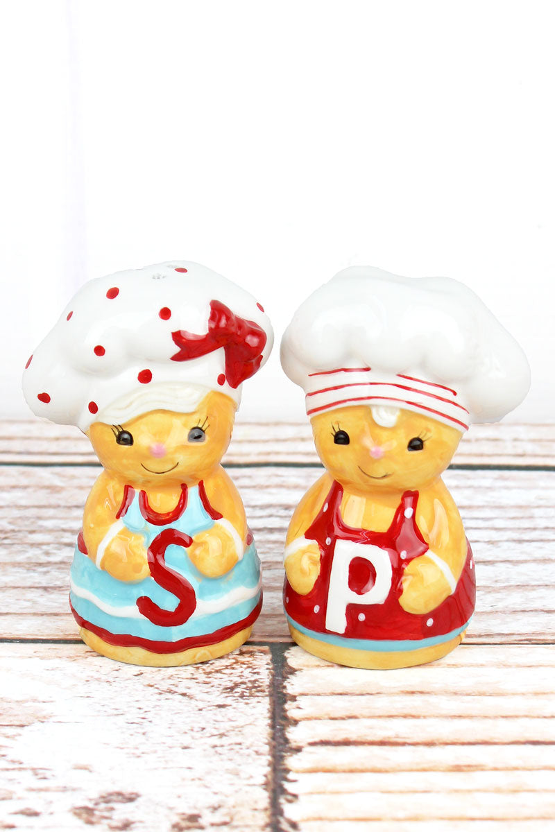 Ceramic Gingerbread Salt & Pepper Shaker Set