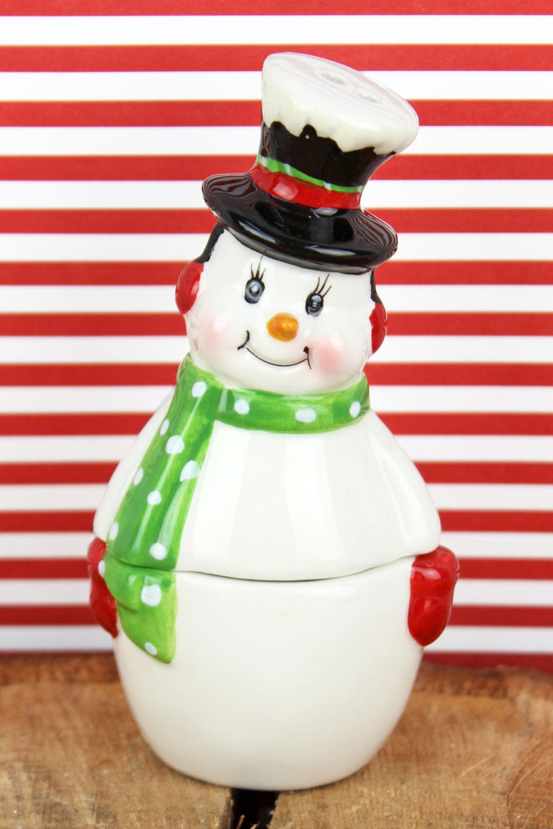 Ceramic Snowman Stacking Salt & Pepper Shaker Set