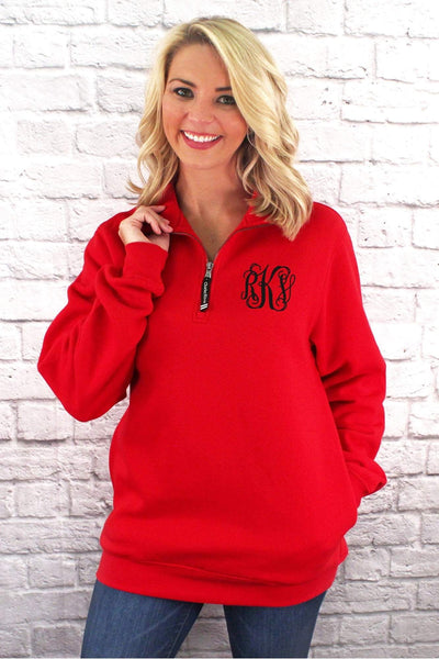 Charles River Quarter Zip Sweatshirt (Men's Cut), Red #9359 *Personalize It! (Wholesale Pricing N/A.. PLEASE ALLOW 3-5 BUSINESS DAYS.. EXPEDITED SHIPPING N/A)