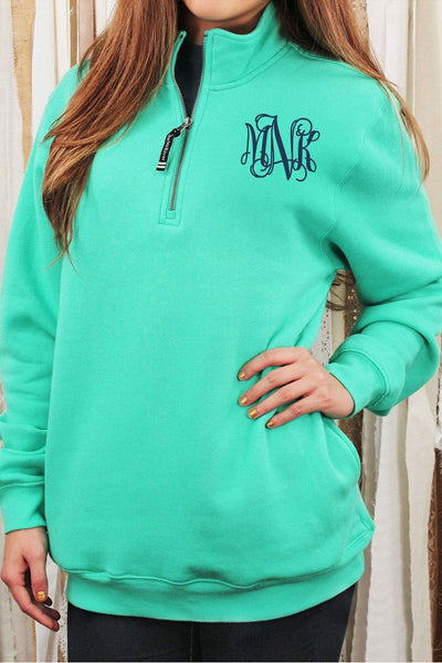 Charles River Quarter Zip Sweatshirt (Men's Cut), Mint #9359 *Personalize It! (Wholesale Pricing N/A.. PLEASE ALLOW 3-5 BUSINESS DAYS.. EXPEDITED SHIPPING N/A) - Wholesale Accessory Market