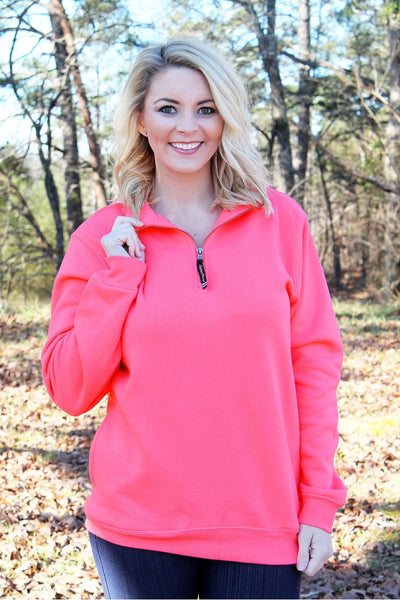 Charles River Quarter Zip Sweatshirt (Men's Cut), Preppy Pink *Personalize It! (Wholesale Pricing N/A)