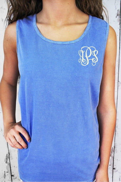 Shade of Blue Comfort Colors Cotton Tank Top #9360 *Personalize It (PLEASE ALLOW 3-5 BUSINESS DAYS. EXPEDITED SHIPPING N/A)