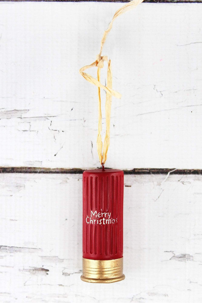 Red and Gold 'Merry Christmas' Shotgun Shell Ornament, 3""
