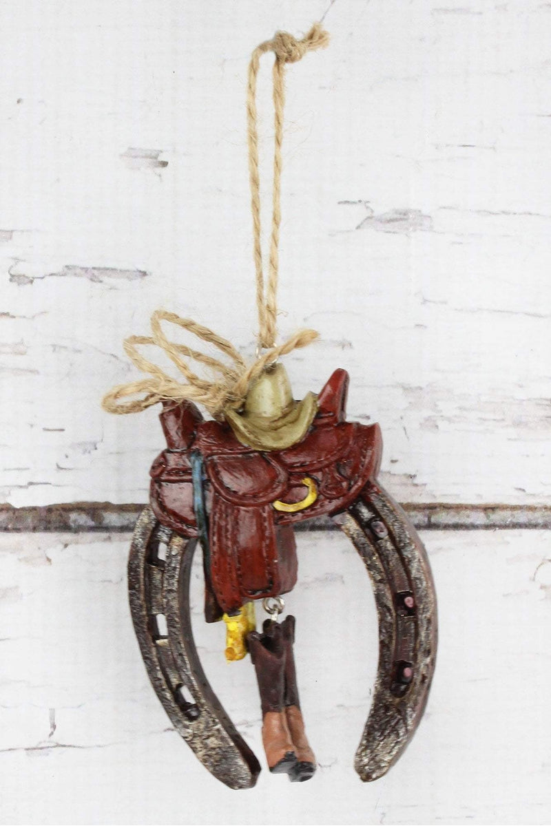 Horseshoe with Saddle and Boots Ornament, 3.5""