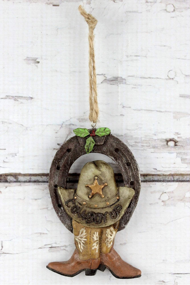 Horseshoe with 'Cowboy Up' Hat and Boots Ornament, 4""