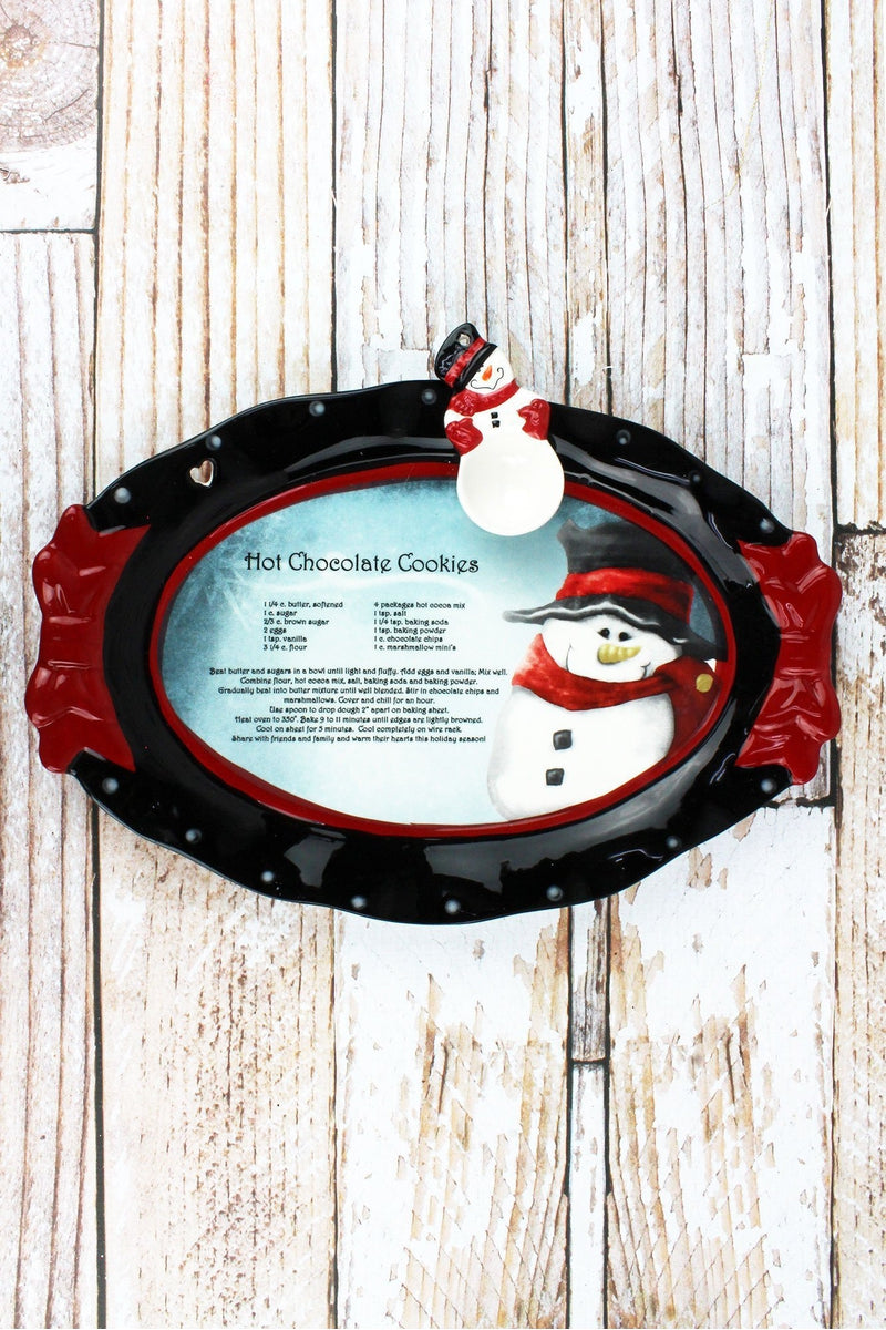 Ceramic Snowman Recipe Platter and Spoon Set