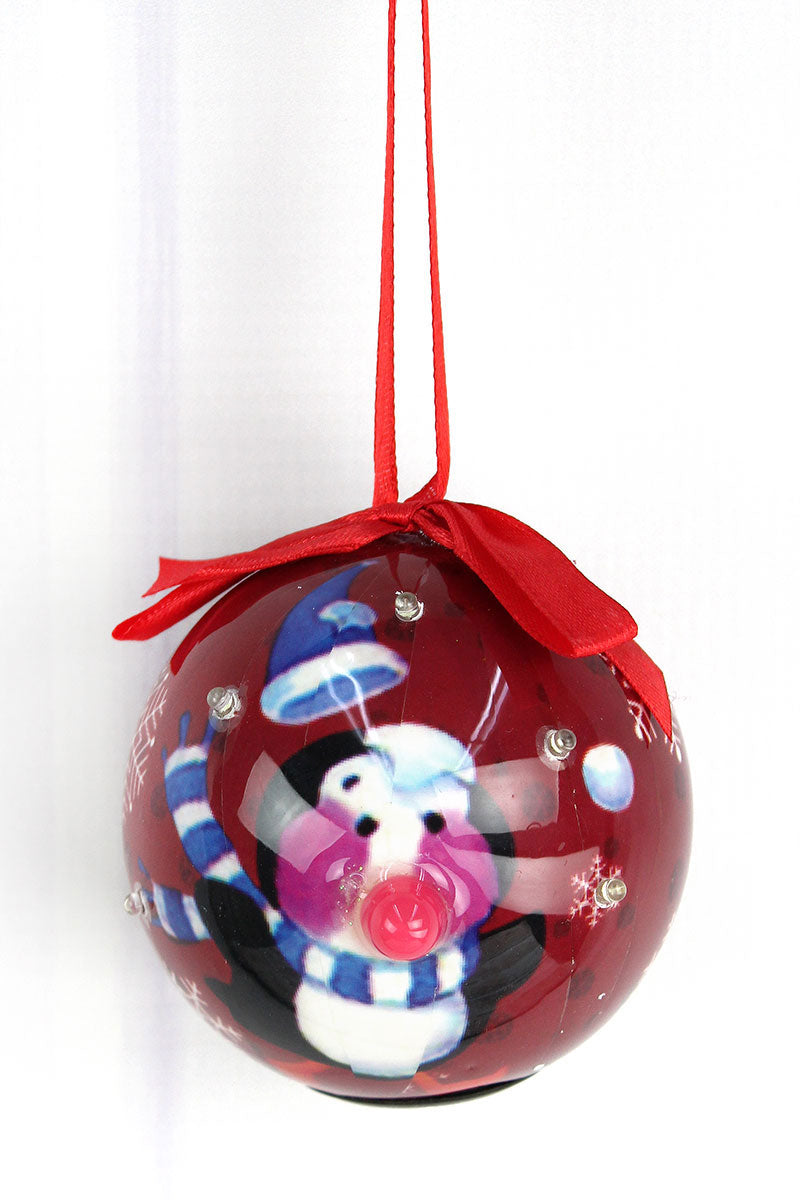 Blinking Penguin Maroon Ball Ornament, 3.25""