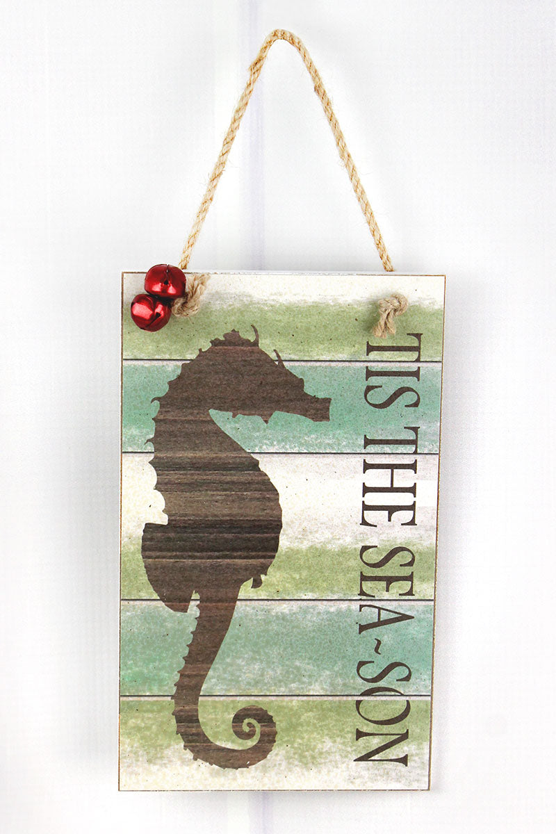 8 x 4.75 'Tis The Sea-son' Wood Seahorse Wall Sign