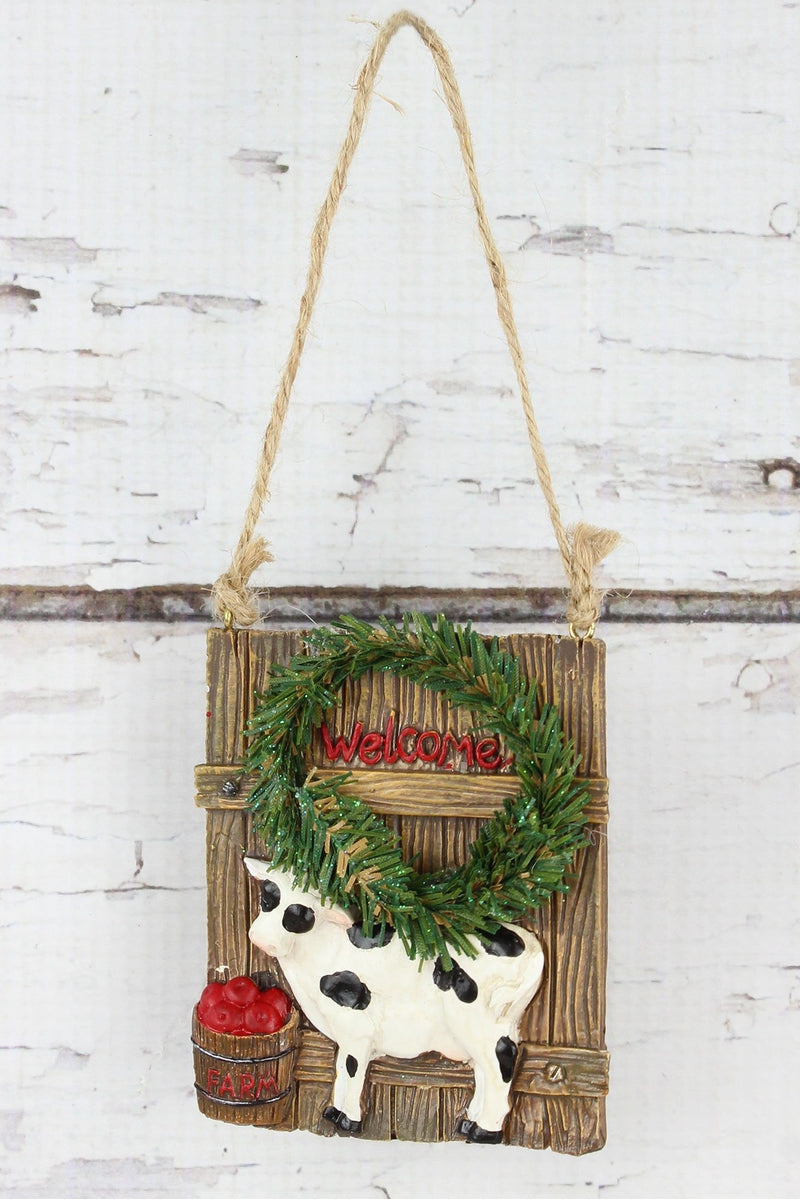 Welcome Cow Ornament, 3.5""