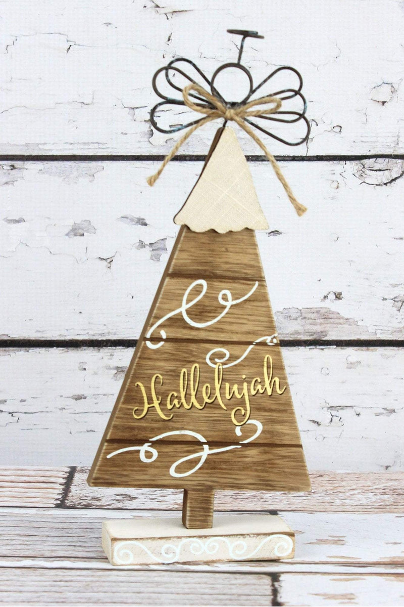 11 x 5 'Hallelujah' Wood Tree with Wire Angel Tabletop Decor