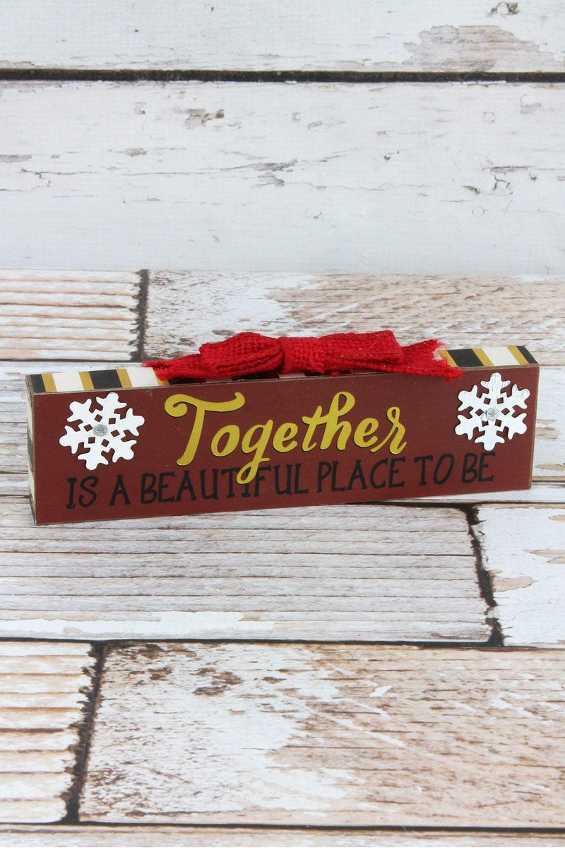 2.5 x 7.25 'Together' Bow Topped Wood Block Sign