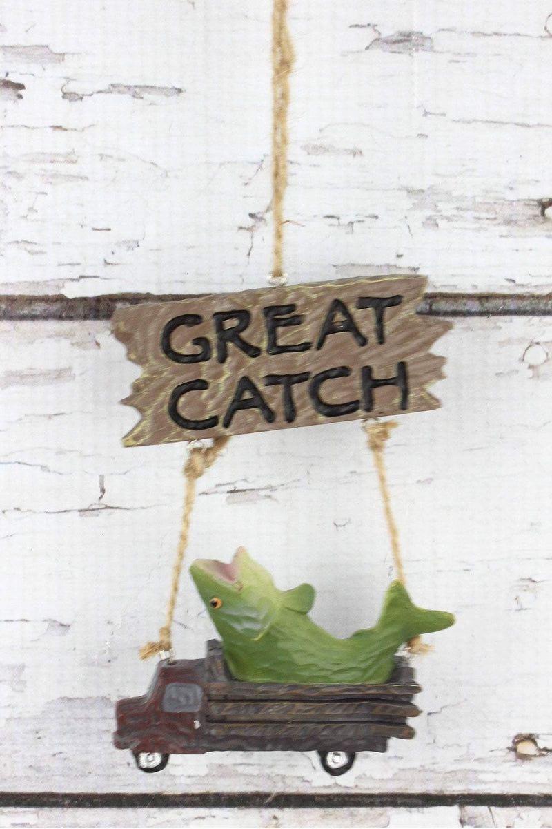 Fish in Truck 'Great Catch' Ornament, 4.5""