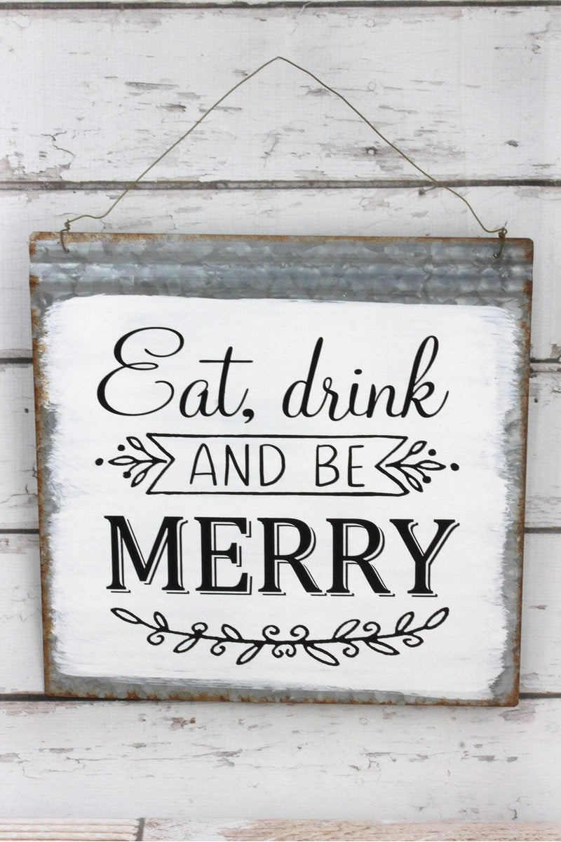 13.75 x 13.75 'Eat, Drink and Be Merry' Painted Metal Wall Sign
