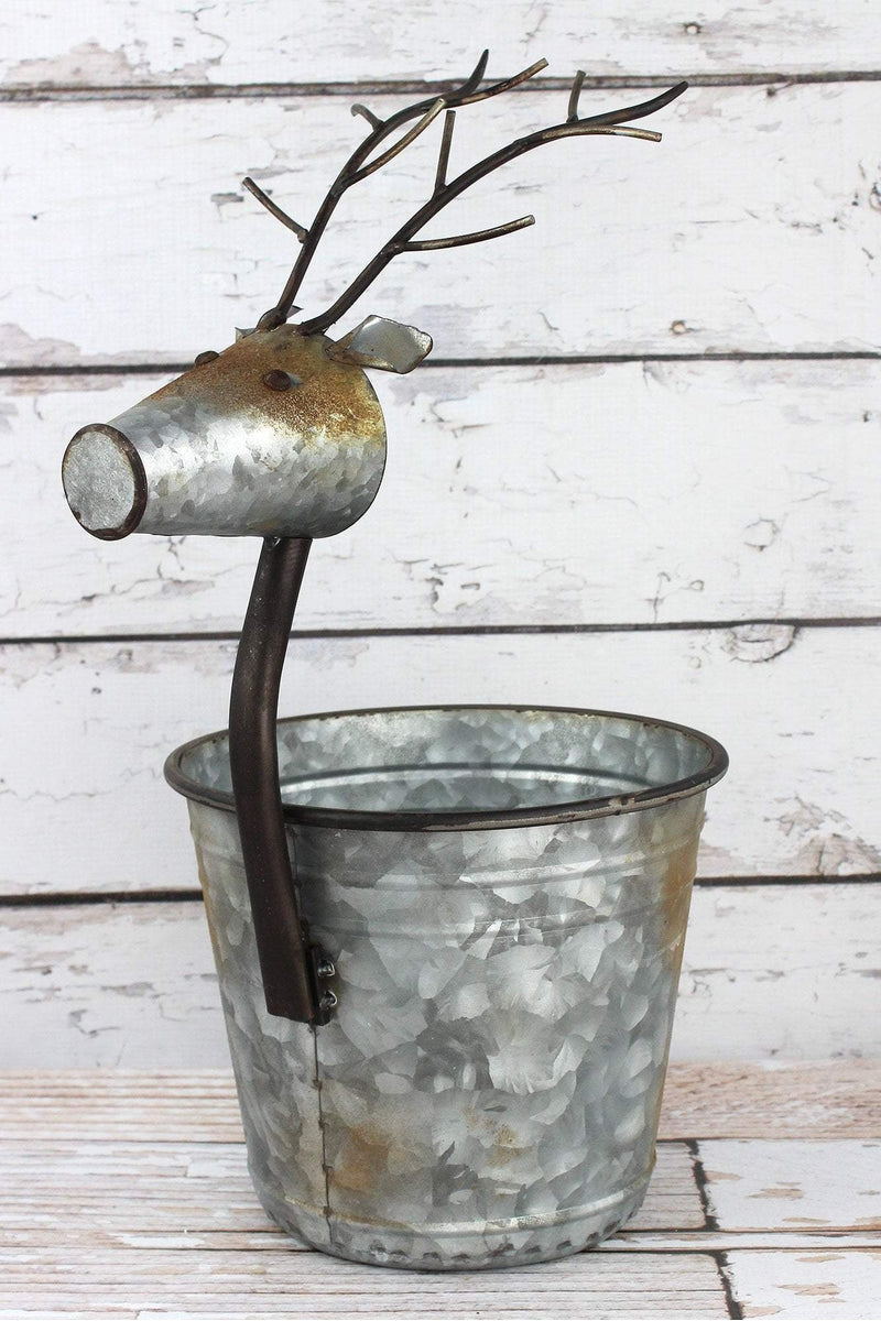 Set of 2 Metal Reindeer Pots