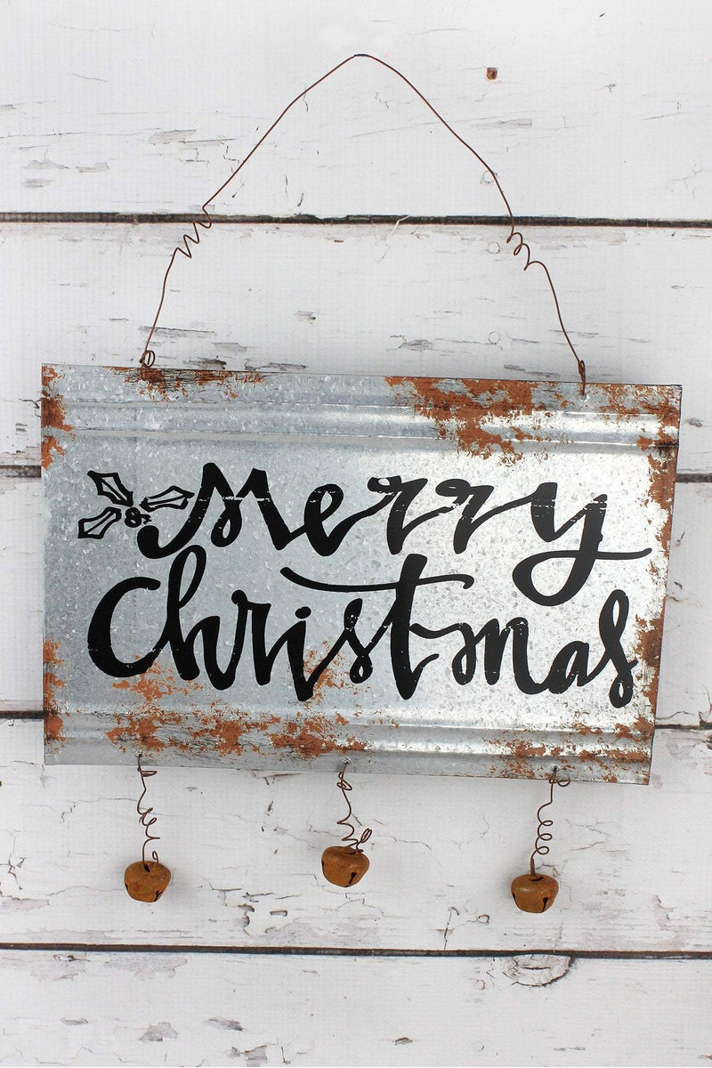 8 x 12 'Merry Christmas' Metal with Jingle Bells Wall Sign