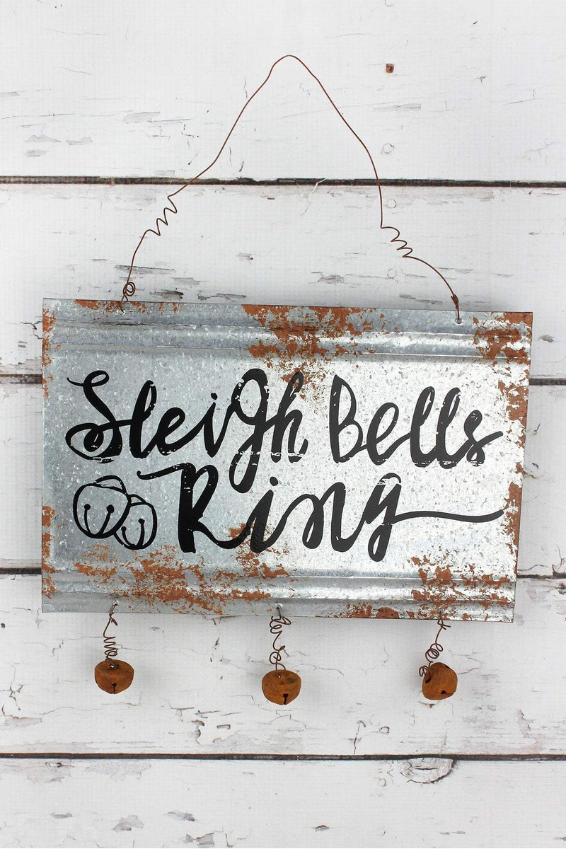 8 x 12 'Sleigh Bells Ring' Metal with Jingle Bells Wall Sign