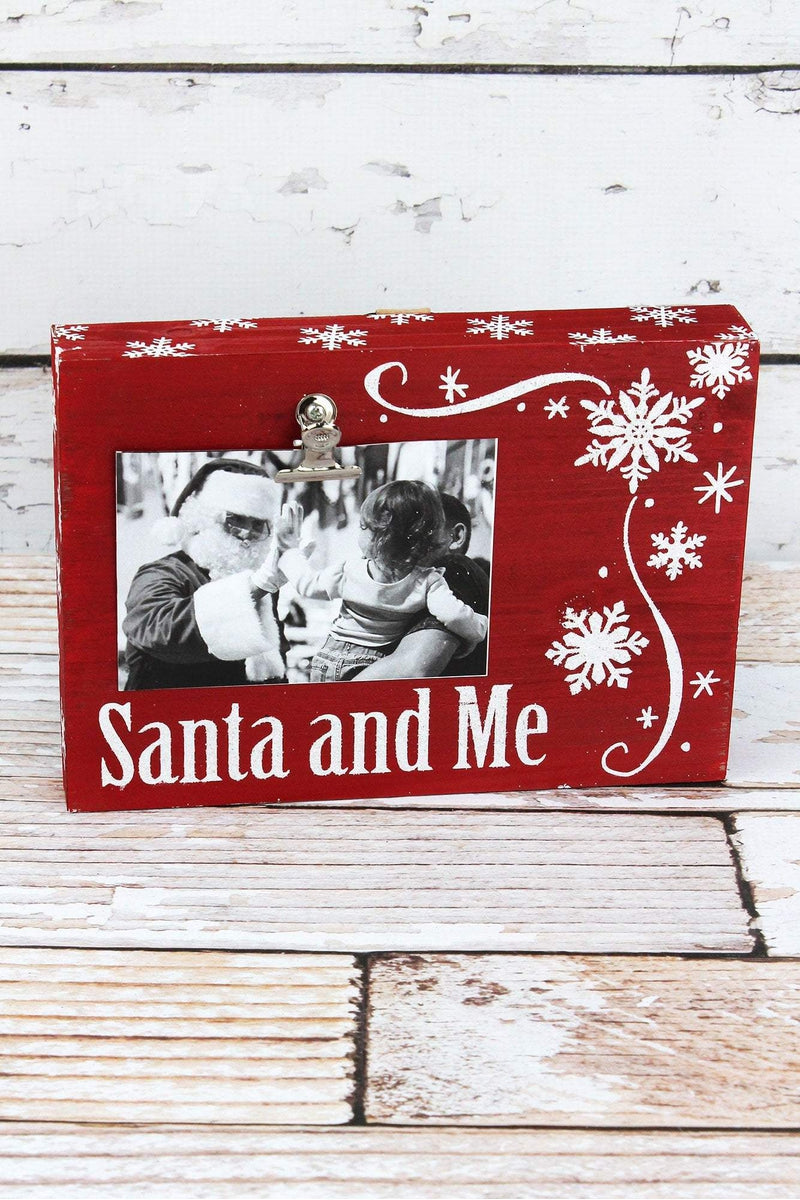 6.75 x 9.5 'Santa and Me' Red with Snowflakes 4x6 Photo Display