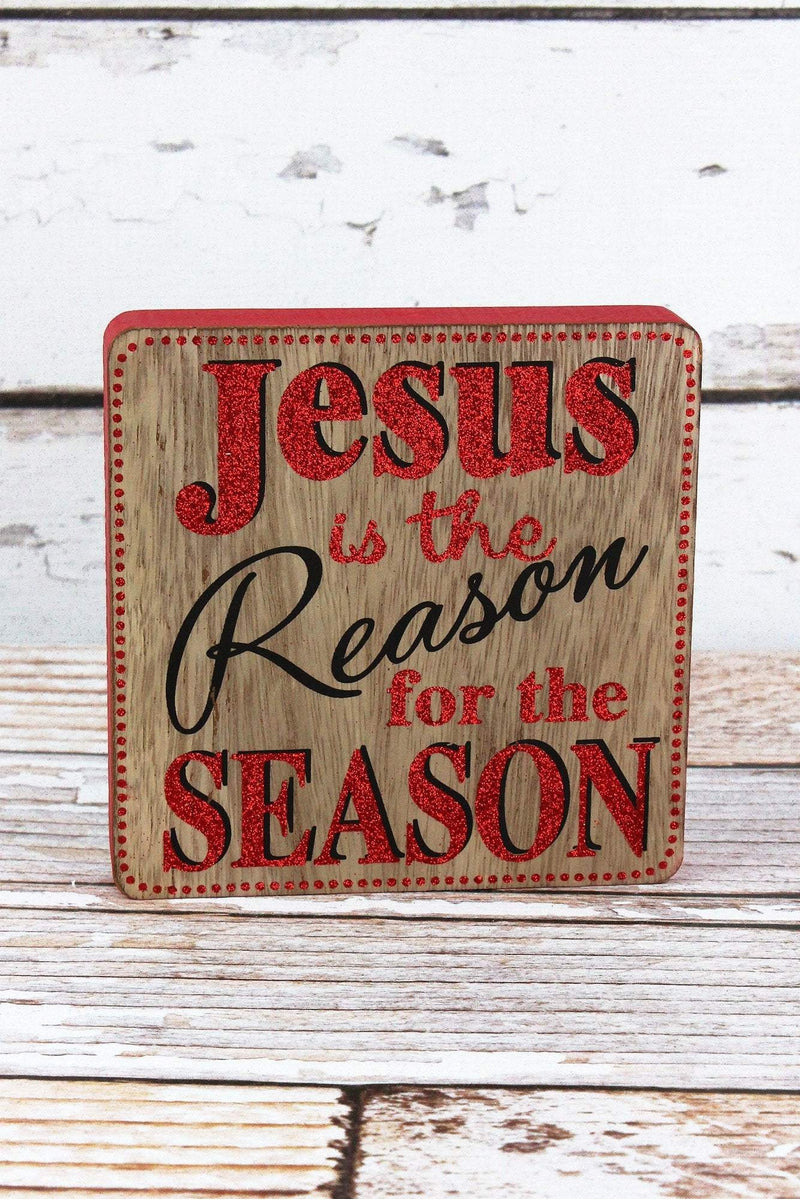 6 x 6 'Jesus Is The Reason' Wood Tabletop Block